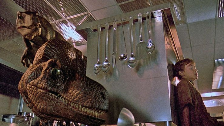 Raptors stalk the kitchen in Jurassic Park