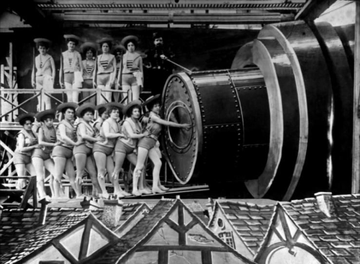 Women prepare to launch a rocket into space