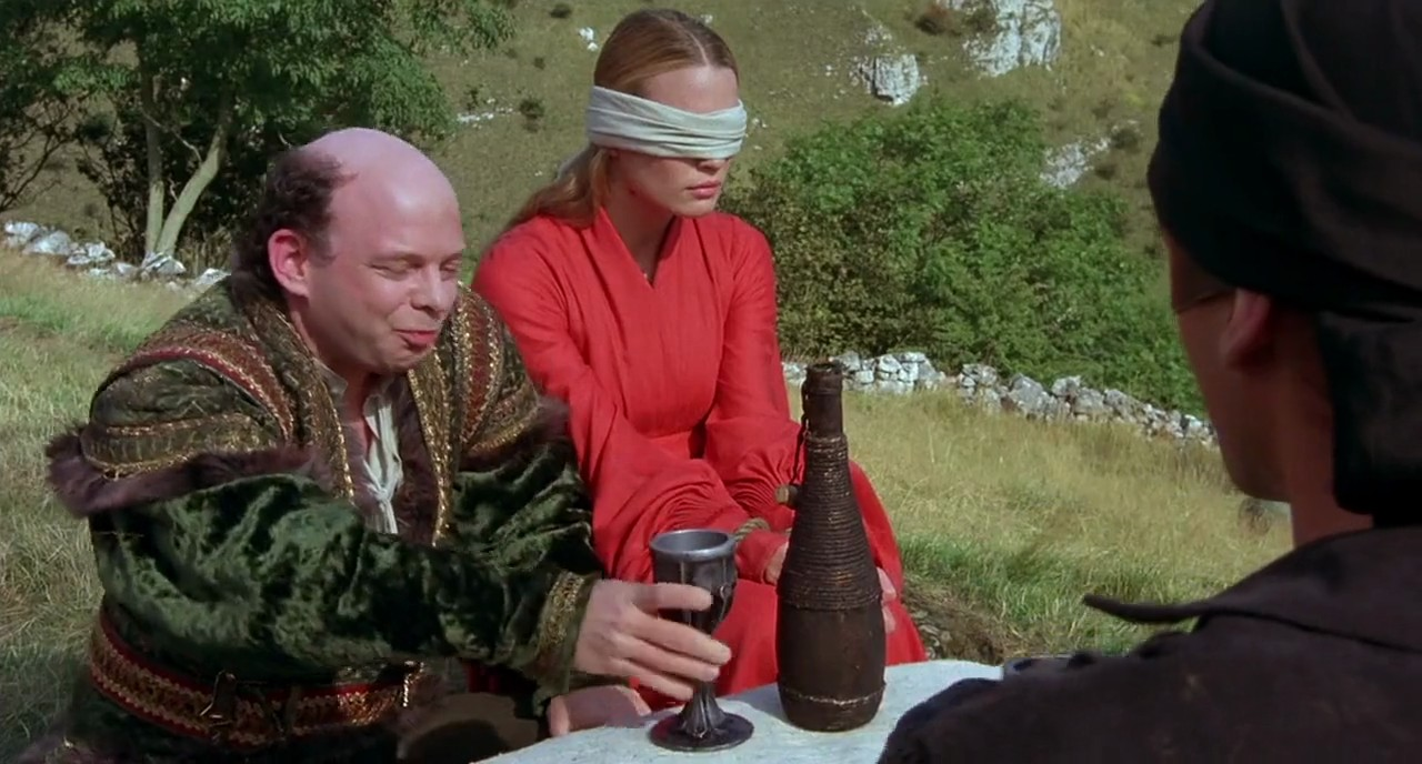 Vizzini engages the Dread Pirate Roberts in a battle of wits in The Princess Bride