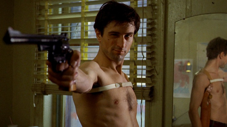 Travis Bickle takes aim in Taxi Driver