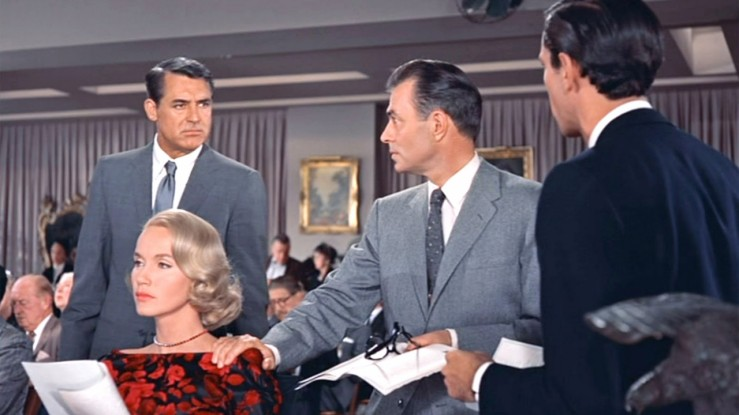 Confrontation at an art auction in North by Northwest