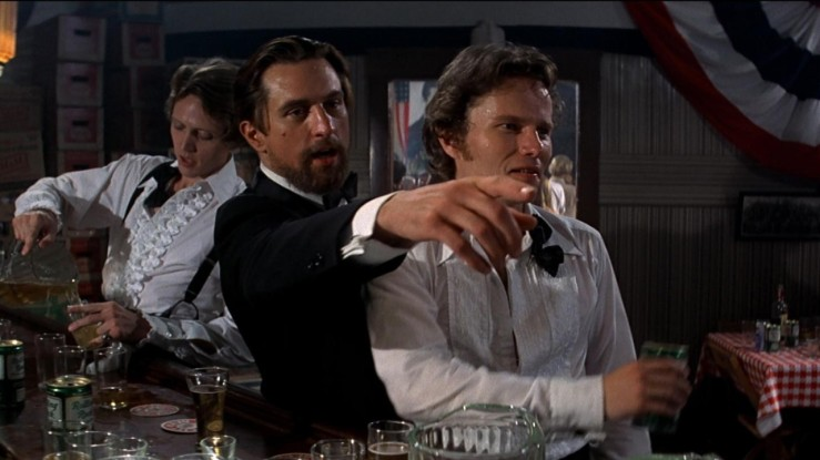 Michael, Nick, and Steve at the wedding in The Deer Hunter