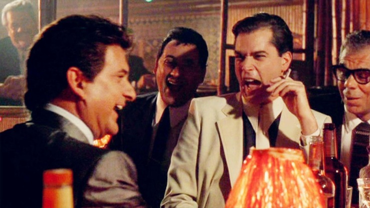 Mobsters laugh and joke around in Goodfellas