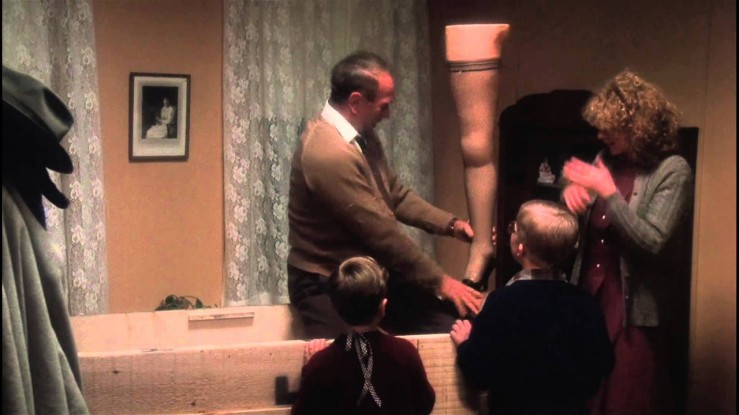 Ralphie and family unwrap a sexy lamp in A Christmas Story