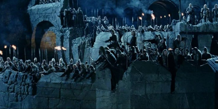 The battle of Helm's Deep in The Lord of the Rings: The Two Towers