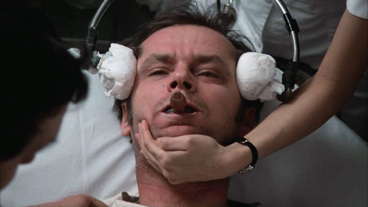 McMurphy receives electro-shock therapy in One Flew Over the Cuckoo's Nest