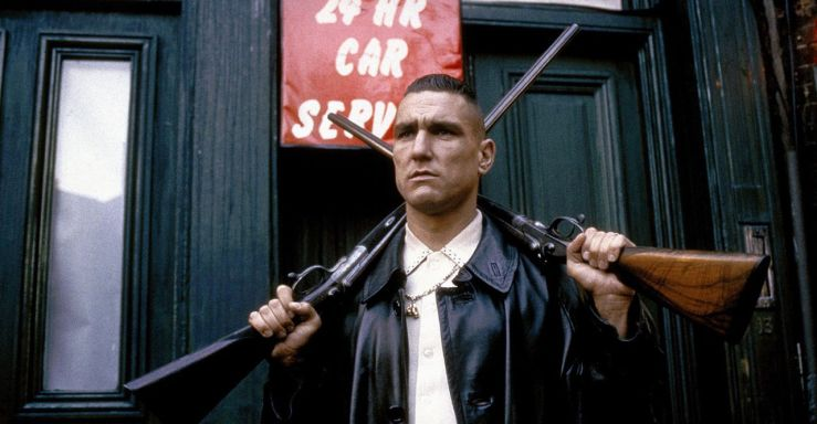 Big Chris brandishes two rifles in Lock, Stock, and Two Smoking Barrels