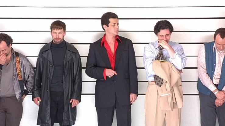 Five criminals in a police lineup in The Usual Suspects