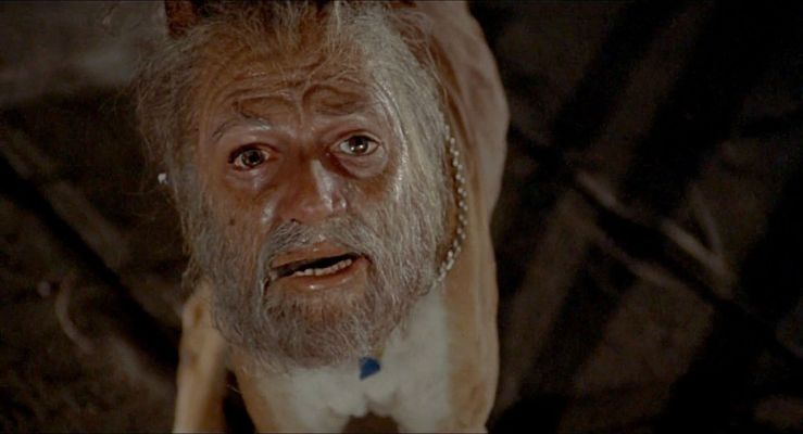 A weird dog with a human head in Invasion of the Body Snatchers