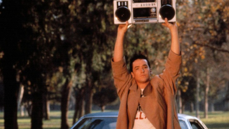 Lloyd Dobler holds a boom box over his head