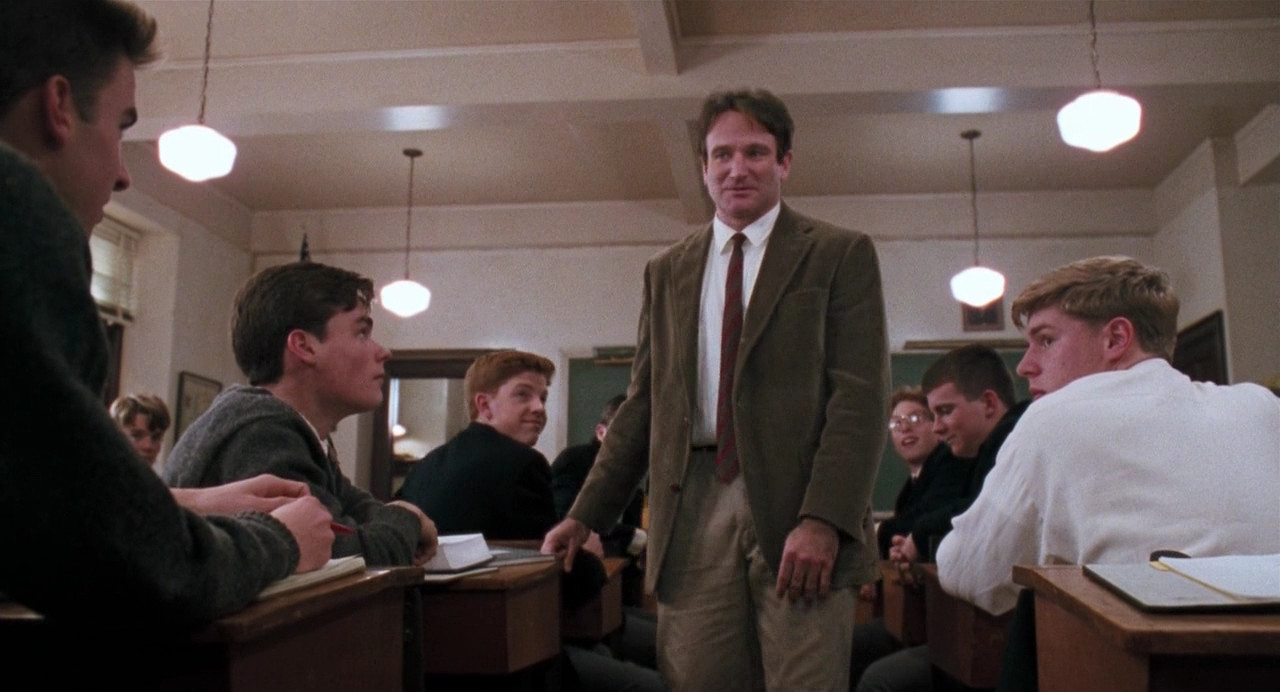 John Keating teaches a roomful of teenage boys in Dead Poets Society