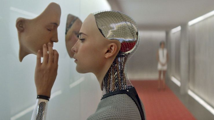 Ava investigates one of her alternate faces in Ex Machina