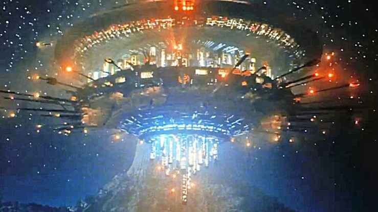 A massive flying saucer lights up the sky in Close Encounters of the Third Kind