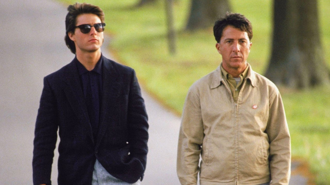 Charlie and Raymond walk down a street in Rain Man