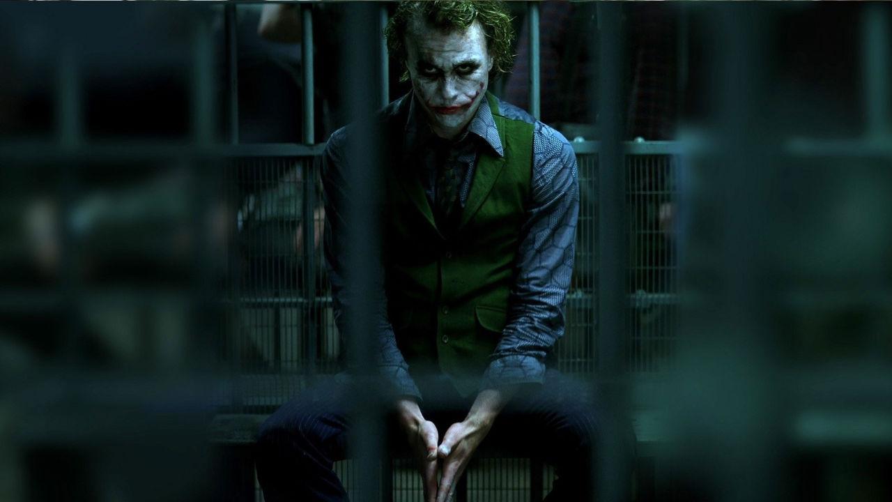The Joker looks brooding in The Dark Knight