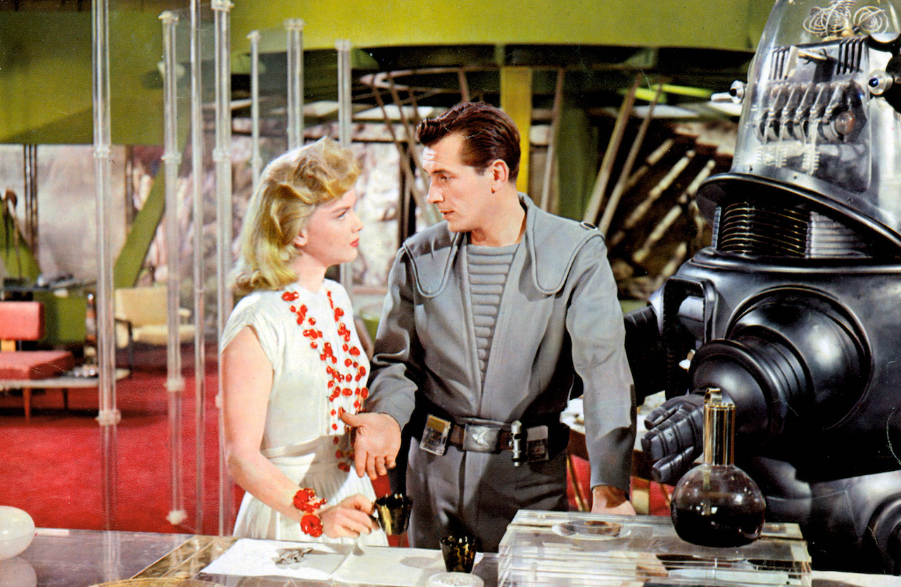 Commander Adams, Altaira, and Robbie the Robot in Forbidden Planet