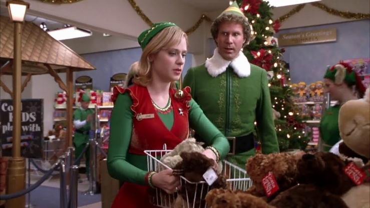 Buddy and Jovie in elf clothing in the movie Elf