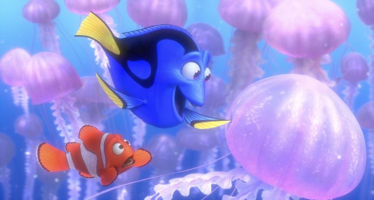 Swimming amidst a school of jellyfish, Dory playfully touches one while Marlin worries and asks her to stop in Finding Nemo
