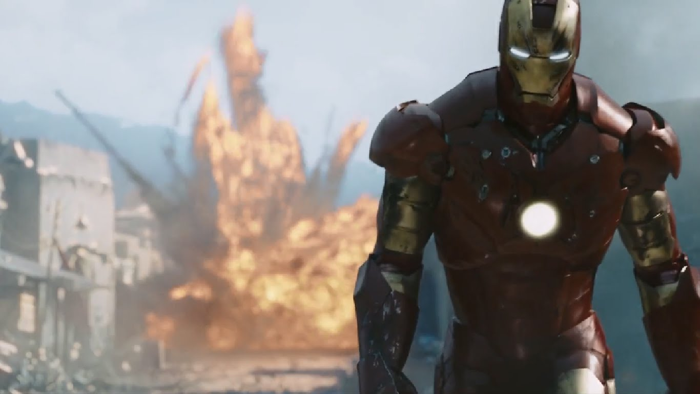 Iron Man walks away from an explosion in Iron Man