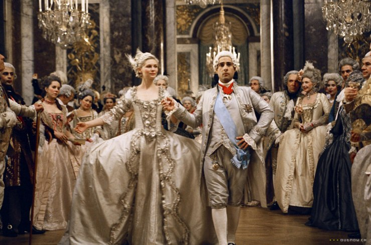 Marie Antoinette and Louis XVI dance at their wedding. Louis XVI looks miserable.