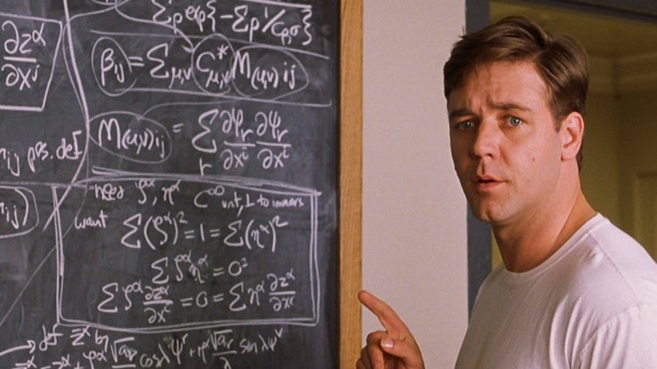 John Nash works some complicated equations in A Beautiful Mind