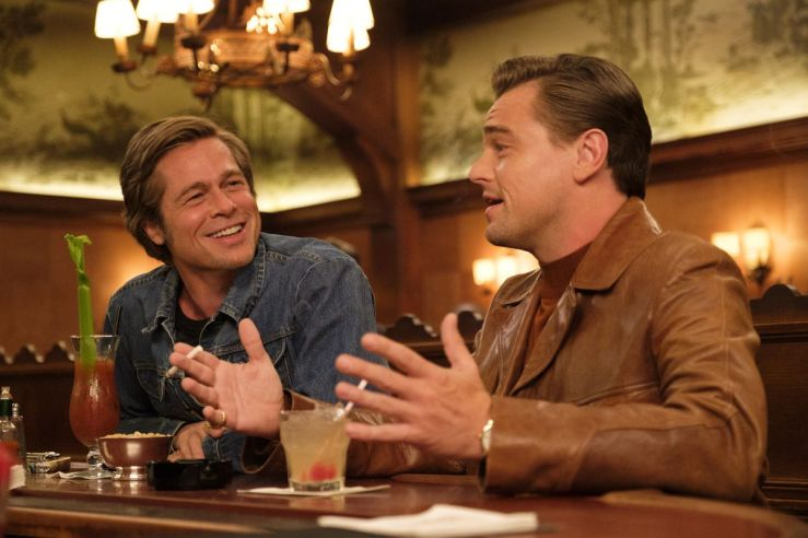 Rick Dalton and Cliff Booth talk over drinks in Once Upon a Time in Hollywood